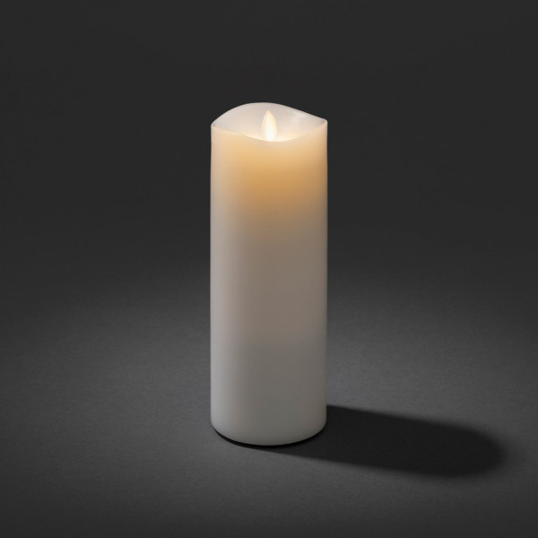 LED Echtwachs-Duftkerze, weiss