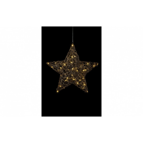 LED Fensterhänger Rattan 48 cm Stern
